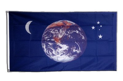 Flagge Erde Mond Sterne - 90 x 150 cm