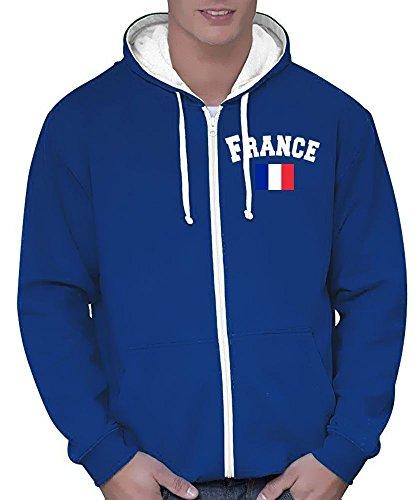 Coole-Fun-T-Shirts Frankreich Sweatshirtjacke Varsity Jacke Blau, Gr.XL