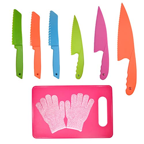 LLGLEU 6-teiliges Kunststoff Küchenmesser-Set mit Schneidebrett & Schutzhandschuhe- Kunststoffmesser - Nylonmesser Kinder-Kochmesser für Obst, Brot, Kuchen und Salat (Multi-Color 3)