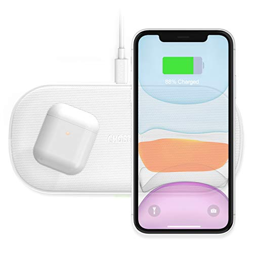 CHOETECH 7.5/10W Cargador Inalámbrico Doble, 5 Bobinas Fast Wireless Charger Qi para iPhone 12/12 Pro/12 Pro Max/11/11Pro/XR/XS MAX/X/8, Samsung Note20/S20/S10/S9, 5W para Huawei P30pro,Airpods2