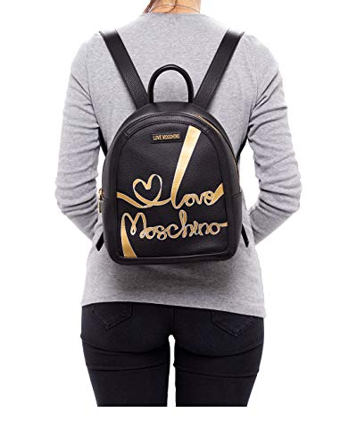 Women's Backpack LOVE MOSCHINO JC4133 Grain Mix Ne Leather Black