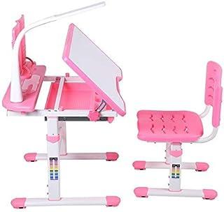 EBTOOLS Bureau avec Chaise et Lampe pour Enfants Ergonomique Set de Table et Chaise Enfant Confortabel Hauteur Ajustable P...