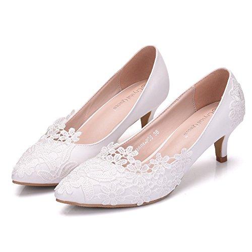 Damen Brautschuhe /Weiße Hochzeitsschuhe/Bequeme Strass High Heels/Pearl Silk Lace /Kristall Hochzeit Schuhe BrautSpitze high-heeled, Weiß 39