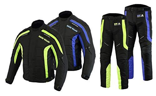 Heren Motorfiets Motorfiets Waterdichte Pak Biker Broek en Jas met Afneembare Armour Jacket-2XL, Trouser-W37-L30 Blauw