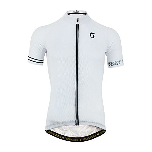 EMONDER Mens Short Sleeve Cycling Jersey Summer Breathable Quick Dry Bike Hiking Outdoor Sports Shirts (XL, White)