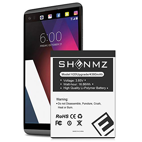 LG V20 Battery, SHENMZ [4380mAh] Upgraded Replacement Battery for LG BL-44E1F, LG V20 Extended Battery for LG H910 H918 V995 LS997 Phone /V20 BL-44E1F | LG V20 Spare Battery [18 Months Warranty]