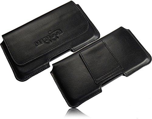 Matador Echt Leder Tasche Case Hülle Handytasche Gürteltasche Quertasche für BQ Aquaris X5 Cyanogen Edition mit verdecktem Magnetverschluß & Gürtelschlaufe in (Schwarz/Black)