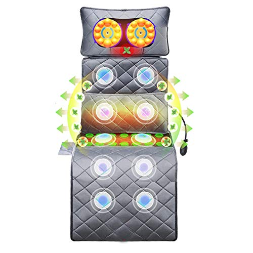 LHHL Heating Pad Massage Mat With 14 Jade Waist Compresses And 9 Different Interval Frequency Adjustments Full Body Vibrating Massager For Neck And Back