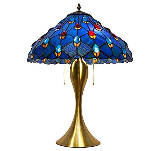 MISLD Lámpara De Mesa Tiffany, Pantalla De Cristal Azul, 12 W Led Fuente De Luz