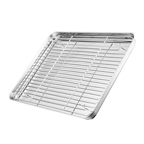 Hemoton Sheet Baking Pan Bakeable Nonstick Cooling Rack Metal Cookie Sheet Tray Stainless Steel Oven Plate Barbecue Grill Fry Pan BBQ Roasting Tool
