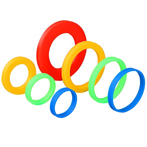 Coobey 7 Pairs Silicone Rolling Pin Rings Rolling Pin Spacer Bands Guide Rings, 14 Pieces