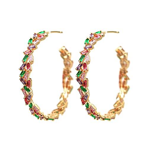 Afrodeti Pendientes de aro de oro deslumbrantes de color para niñas y mujeres