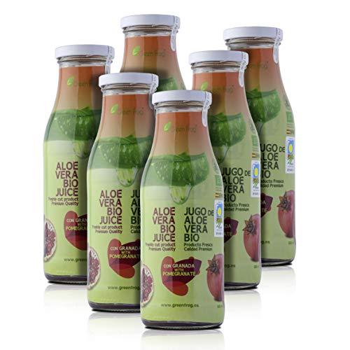 Green Frog Jugo de Aloe Vera Bio con Granada; Aloe Vera Fresco para Beber Ecológico Elaborado en España Pack de 6 Botella, 6x500 ml