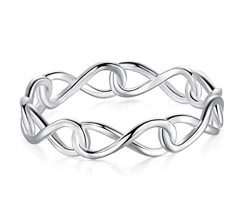 BORUO 925 Sterling Silver Ring High Polish Infinity Symbol Tarnish Resistant Comfort Fit Wedding Band Ring Size 4-12 Silver