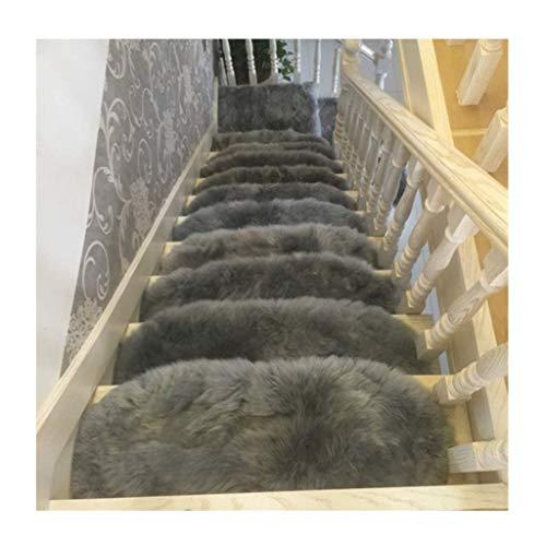 GJXY Stufenmatten Treppen-Teppich Halbkreis Lange Flusen 5pcs 65x24 cm Selbstklebend Treppenpads Matte/Teppich für die Treppe rutschfest Bodenschutz Waschbar,Bluegray,65x24cm