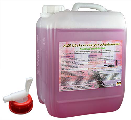 A.K.B. Küchenreiniger, aus natürlichen Tensiden,4065 (5 L 2-Fachkonzentrat m. Hahn) Kraftreiniger, Allzweckreiniger, Fettreiniger