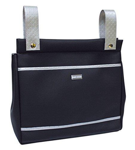 Baby Star M10-2466 - Bolso panera para silla universal, color negro y plata