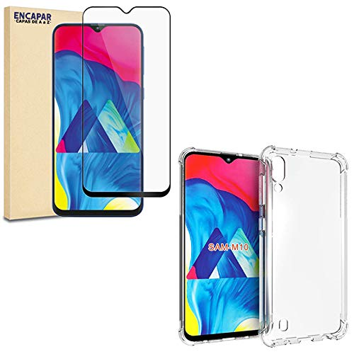 Capa Anti Impactos Shock Samsung Galaxy M10 + Película Blindada 5D Flexível Nano Gel, Acompanha Kit de Limpeza - ENCAPAR