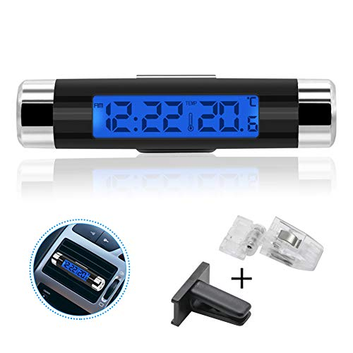 Rumfo Car Auto LCD Display 2 in 1 Mini Car Digital Clock Thermometer Time Monitor Portable Electronic Clip-On LED Backlight, Only Celsius