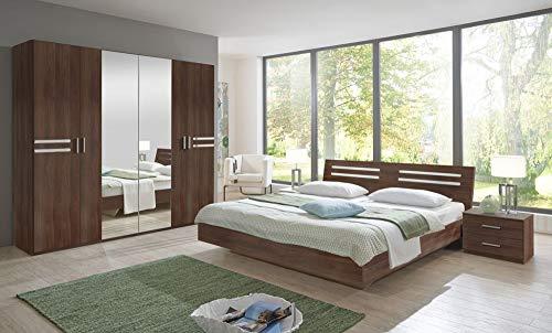 Beauty.Scouts Möbel EXTARA Collection Schlafzimmer Set Peanuts Schlafzimmerset Komplettprogramm Schlafzimmermöbel Kleiderschrank 4-TLG. Columbia-Nussbaum Nachbildung Bett 180x200cm