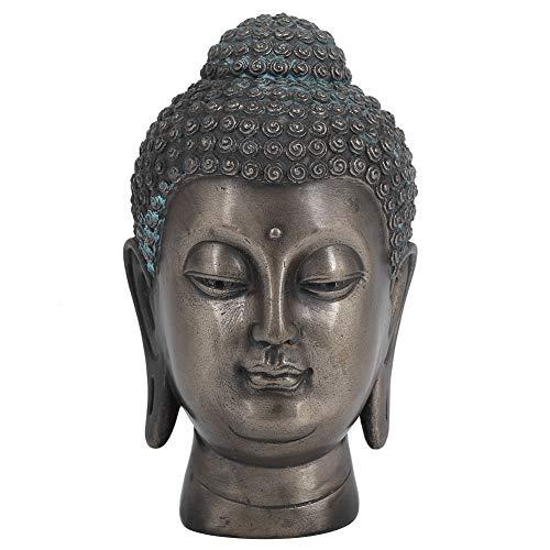 Liyeehao Cabeza de Buda meditando Estatua de Cabeza de Buda Figura de Resina Zen de Mesa para Oficina en cas
