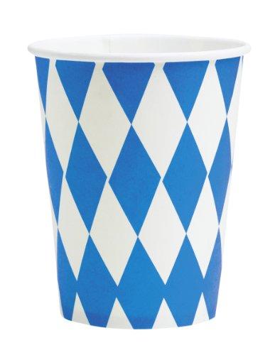 Riethmüller - 8 bicchieri, 250 ml, motivo: Baviera / Oktoberfest, colore: Blu/Bianco