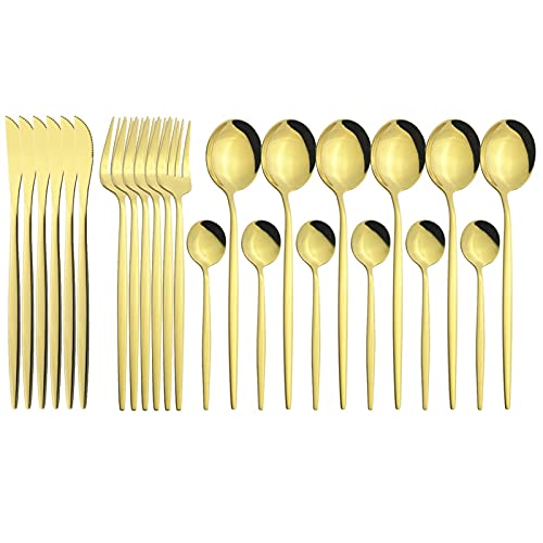 24pcs Gold Setware Set Mirror Cuchillo Tenedor Cuchara Cuchara Cubiertos Conjunto Sistema de vajilla de acero inoxidable Cubiertos de plástico de lujo (Color : Gold)