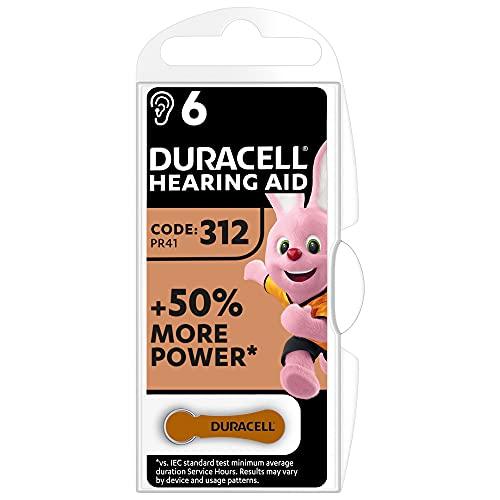 Oferta de Duracell Pilas para audífonos, tamaño 312, paquete de 6, Color Marrón