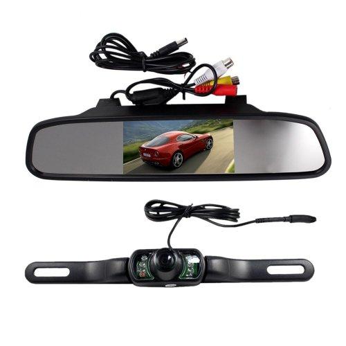 BW® 10,9 cm Écran TFT LCD rétroviseur Moniteur et caméra de recul vision nocturne sans fil pour voiture Noir