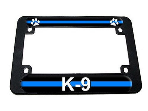 Graphics and More Thin Blue Line Paw Print - Police K9 Motorcycle License Plate Tag Frame