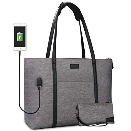 Laptop Tote Bag for Women Teacher Work Office USB Bags Fits 15.6 inches Laptop (Gray)