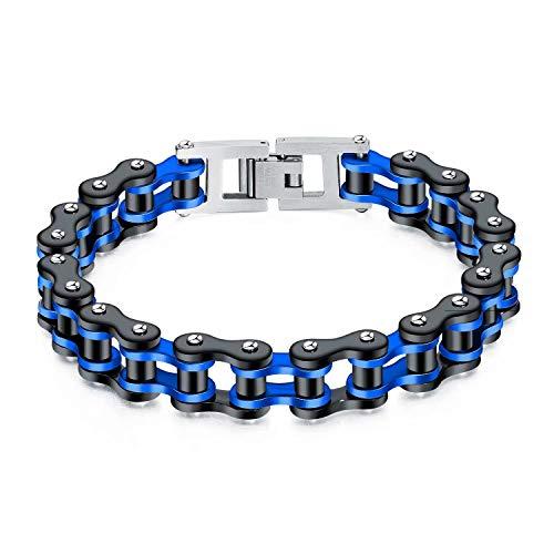Doyeemei - Braccialetto da moto con catena in acciaio inox, stile rock, in acciaio inox, lucido, personalizzato con scatola portagioie blu