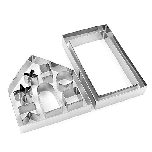 10pcs Stainless Steel Christmas House Cookie Cutter Kit 3D Chocolate House Cookie Cutter Set