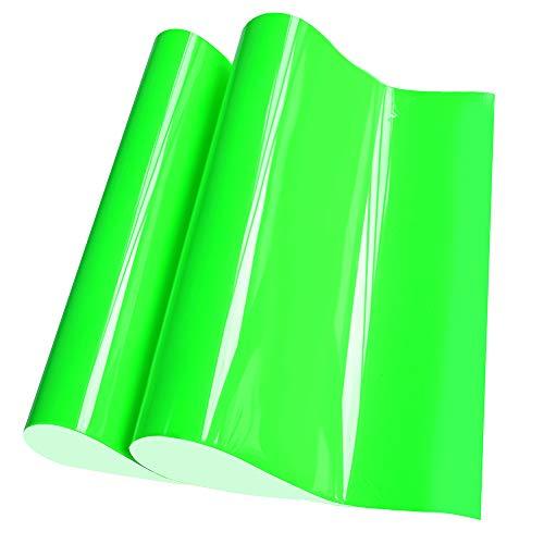 Neon Green Heat Transfer Vinyl HTV Vinyl Sheets for Tshirt Clothing 12 x 20 2-Pack