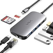 VAVA USB C Hub 8-in-1 Type-C Hub mit Ethernet Ports, 4K HDMI, 3 USB 3.0 Ports, SD und microSD-Kartenleser, Power Delievery Ladeanschluss für MacBook, MacBook Pro oder andere Geräte mit Typ C Anschluss