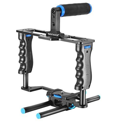 Neewer Aluminium Legierung Kamera Video Cage Film Movie Making-Kit enthalten Video Cage Top Handle Grip 15mm Rod für DSLR-Kameras wie Canon 5D Mark II III Nikon D7200 Pentax Sony Olympus