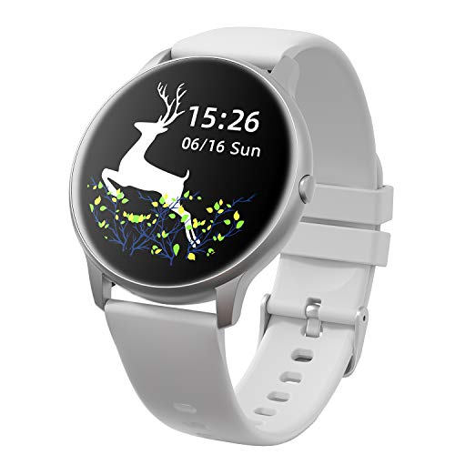 YAMAY Smart Watch 2020 Ver. IP68 Waterproof Customized Watch Faces, Watches for Men Women Fitness Tracker Heart Rate Monitor Watch, Smartwatch Compatible with iPhone Samsung Android Phones (Gray)