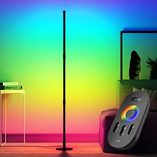 STASUN Stehlampe RGB - 72 LED Stehleuchte Ecklampe mit Fernbedienung - Dimmbare Helligkeit Farbwechsel Lichtsaeule - Aurora Stehlampe für Wohnzimmer-Atmosphäre Nachtlicht
