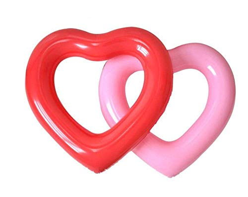 QWE Heart-Shaped Pearl White Pailletten aufblasbare Schwimmen Reifen verdicken Wear-Resistant Pool Floating Ring Tragbarer Kind Erwachsene Schwimmen-Ring Pool DOISLL (Color : Red)