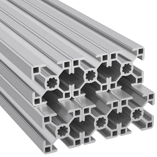 Ulber24- Aluprofil 30x30 Nut8 Typ-B,6x2m=12m Aluminium Konstruktion- Montage- System- 3030 Alu Schiene Stecksystem Vierkant Profil B-Typ Nut 8 Winkel