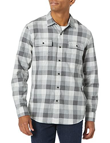 Goodthreads Standard-fit Long-sleeve Tri-color Buffalo Plaid Herringbone Shirt Hemd, Mittelgrau meliert, XL