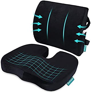 Coccyx Orthopedic Seat Cushion and Lumbar Support Pillow for Office Chair Memory Foam Car Seat Cushion with Washable Cover...