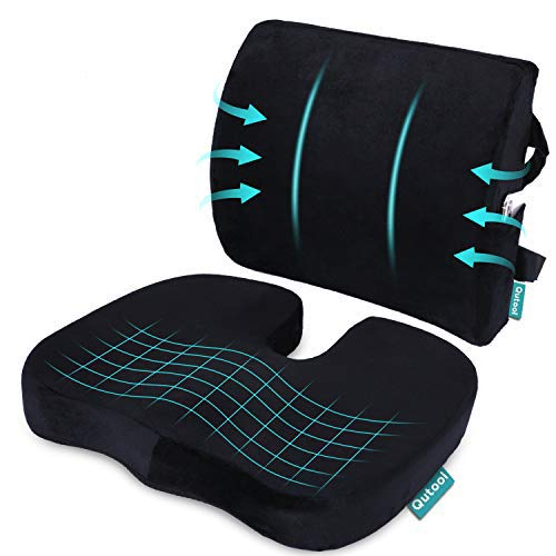 Seat Cushion Coccyx Orthopedic Memory Foam and Lumbar Support Pillow for Office Chair and Car Chair...