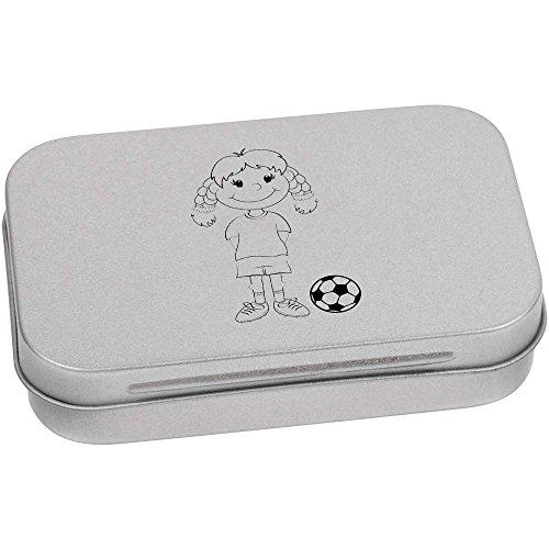 Azeeda 95mm x 60mm 'Junge Fußballer' Blechdose / Aufbewahrungsbox (TT00017287)