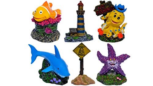 Supa Small Mixed Aquarium Ornament, Pack of 6, Consists of Shark, Octopus, Clown Fish, Starfish, No Fishing Sign And A Lighthouse, Suitable For Aquariums And Fish Tanks