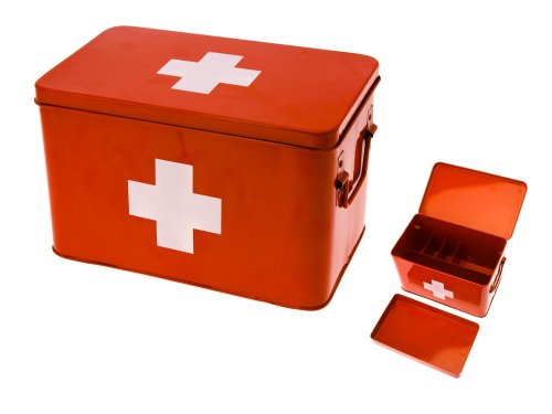 PT Medicine Medizin, Aufbewahrungsbox, Box, Medikanmentenbox, Metall, Rot, Large