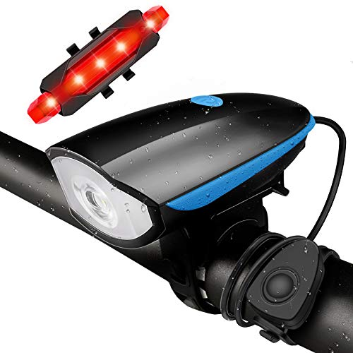 ANVAVA Bike Lights, USB Front and Rear Rechargeable Bicycle Headlight Tail Lights, with Bike Horn, Waterproof Bicycle Front Lights, Suitable for All Mountain and Road Bikes