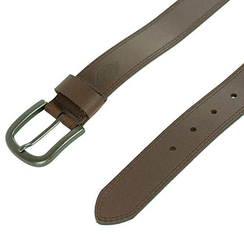 Dickies Mens 38mm Leather Belt With Two Row Stitch, Brown, 38