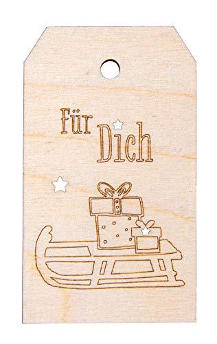 Rayher 62990505 Holz-Anhänger Für Dich, 4,8 x 8,2 cm, naturbelassen, Holz Tag, Geschenkanhänger Holz, Weihnachtsdekoration