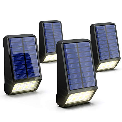 Solar Fence Lights, LOHAS Solar Security Lights Outdoor, 8 LED, Day White 6000K, IP65 Waterproof, Automatically Light-up and Store Solar Energy, Perfect Used in Pathway, Hallway, Fence, 4 Pack